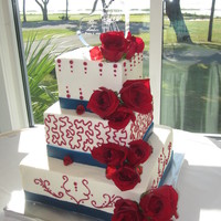 Marine Corps Red, White And Blue Wedding Cake