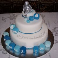 Christening Cake This was a cake for my niece's son. The cherub was from her wedding cake. Choc.mud cake is bottom layer, fruit cake is middle, and...