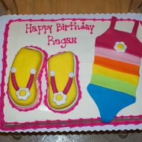 Swimsuit And Flip Flops Cake created for a pool party. The swimsuit on the cake matchesthe swimsuit the Birthday girl is receiving as a gift. 1/2 sheet cakewith...