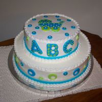 Baby Shower For A Boy 10 inch and 8 inch. Buttercream with fondant dots and baby buggy.