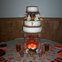 "Brown And Orange Wedding This is my first official ""PAID"" wedding cake!! I have now experienced a whole new level of STRESS!! All buttercream. I am very..."