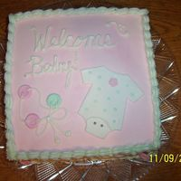 Baby Shower All buttercream with fodant onesie and buttons. Idea taken from MANY CC'ers....thanks to them all.