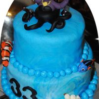 The Life Under The Sea This topper i made it with mmf also all the fishes around the cake.