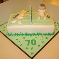 "Tennis Birthday Cake 10"" x 6"" cake, covered in sugarpaste - design from Carol Deacon Sporty Cakes Book"
