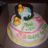 Ducky Theme Baby Shower Cake I got some ideas from this site and came up with my own version for a friend's baby shower. The cake is the Mermaid Bakery butter cake...
