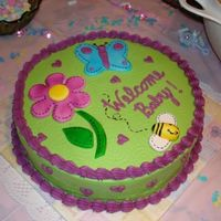 Butterfly Baby Shower Buttercream icing with airbrushed fondant details. Still working on the airbrushing skills, not much time to practice with a 2.5 year old...