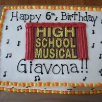 High School Musical Disney's High School Musical themed cake for a 6 year old's birthday. Iced in buttercream with edible image and gold dragees for...