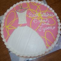 Bridal Shower This cake was designed after the bridal shower invitation (photo posted). I piped the yellow design right on top of the pink, laid a viva...