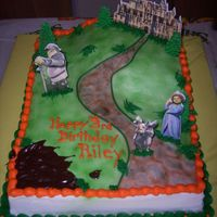 "Shrektacular Made this for my son's 3rd birthday party. 11x15"" iced in buttercream with airbrushed grass and cobblestone path. Tip 233..."