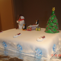 Cristmas Cake made a cristmas cake for my daughters cristmas dinner at school. cake filled with rasberry/cherry .2 layerd cake . was fun to make the...