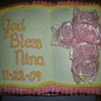 Bible Baptismal Cake This is a baptismal cake that I made for my friends granddaughter. It is white cake with strawberry fill & vanilla buttercream frosting...