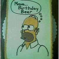 Homer Simpson Birthday Beer I made this cake per request of a former co-worker. He thought of the qoute. I freehand drew this Homer and i'm quite happy with the...