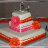 Pink And Orange   fondant covered with satin ribbons