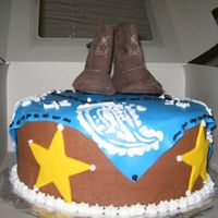 Fondant Decorations With Chocolate Buttercream Frosting This was for a cowboy themed baby shower