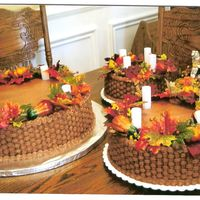 Chocolate Autumn Wedding I did this for my favorite aunt who finally found her prince charming!! 18, 14, 10 & 6 inch rounds with chocolate buttercream--some...