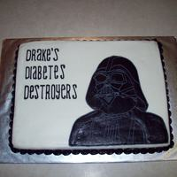 "Darth Vader All buttercream; ""cake"" is actually a giant Rice Krispy Treat"