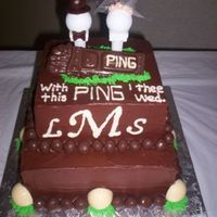 """with This Ping I Thee Wed""   Chocolate cake with fudge frosting. Thank you to other CC members for the great idea!"