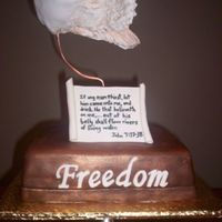 Freedom Sculpture  Cake made to look like sculpture (Freedom, Journey of Grace). Angel wings made with wire frame covered with MMF, painted with royal and...