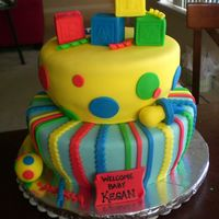 Welcome Baby Kegan! My first attempt at a whimsical type shape. Thank you to everyone on CC for inspiration! The top layer was white cake with lemon filling...