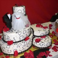 Mixed Shaped Cakes  This bride wanted Dairy Queen ice cream cake and real cake. So I made the main part of this regular cake that sat out throughout the...