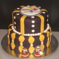Steelers Groom's Cake  This was a Groom's cake for a BIG Steelers fan! It was right after the super bowl! Everything is covered in fondant and the little...