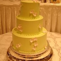 Lime Green And Hydrangeas IMBC covered cakes with gumpaste hydrangeas.