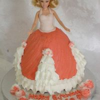 "Barbie Birthday Strawberry WASC with BC icing. I used a wondermold and an 8"" round for the dress. I got a little carried away with the ruffles, this..."