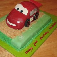 Lightning Mcqueen   I made this cake for a co-worker's nephew's 2nd birthday. It is a hand carved car on a half sheet cake.