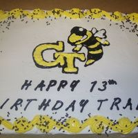 Georgia Tech Birthday Cake! I made this cake for my nephews birthday.It is a 1/2 sheet with whipped buttercream icing.The GT and yellow jacket were drawn on the cake...