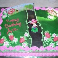 Strawberry Shortcake! I made this for my daughter.1/2 sheet vanilla cake with whipped buttercream icing.