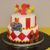 First Birthday Circus/carnival Theme buttercream with fondant accents and fondant animals