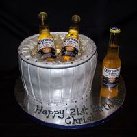 Beer Bucket Cake Thanks to DianeLM for all her help on this one. Chocolate cake, fondant painted with luster dust. Knox gelatin ice and real beer bottles....