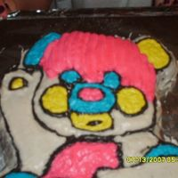 Popples tripple chocolate cake covered in buttercream frosting. I used the star tip and didn't like the way it looked so I smoothed it with a...