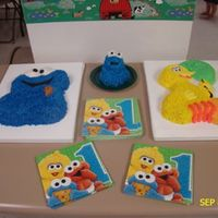 Daughter's 1St Birthday   Cookie Monster & Big Bird with a little free standing Cookie monster as her personal cake
