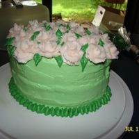 White Roses Ontop Of A Green Cake   I was practicing my roses one day and it just happened to be a family reunion that weekend...perfect timing