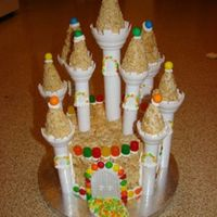 Castle - Rise Krispies! My first time using the Wilton Castle kit and though I ran out of time to bake a cake, I think everyone enjoyed the Rice Krispies just the...