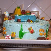 Brewer's 1St Birthday Cake...ocean. This was a yellow cake with tinted blue icing. This was my first attempt at a cake...I was pleased until I had to drive 1 hour to get to...