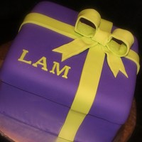 Purple Present With Neon Green Bow
