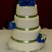 Rachel   WASC cake with buttercream filling, covered in fondant, fresh hydrangeas in floral picks.