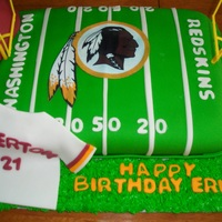Redskins Football Cake Lemon Cake. All decorations are fondant, football in molded out of chocolate.
