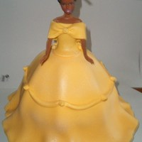 Yellow Princess Yellow cake, butter cream icing all decoration done is yellow fondant.