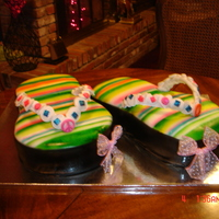 Flip Flops HUGE flip flop cakes...one choc, one van ( nearly takes up all the table space:)