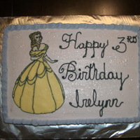 Disney Princess cake is covered in BC, with FBCT Belle.