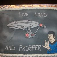 Star Trek Made this cake for my boss last month, cake is half choc. half white with raspberry filling. Second time doing BCT.