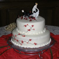 Wedding Cake is red velvet covered in BC AND MMF.