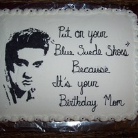 Elvis Presley   with the help of so many other elvis cakes on here I did a FBCT Elvis. Cake is just half and half choc. and white, covered in BC.