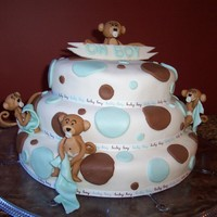 Baby Monkeys   Cake was made for my friends baby shower, monkeys moulded out of Rolled Fondant. Cake is covered in MMF.