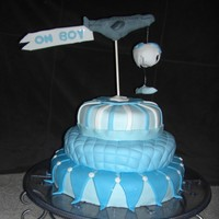 Airplane Baby Cake   cake is BC covered in MMF. airplane and parachute baby are RF.