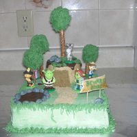 Shrek   Cake made out of BC, plastic characters.