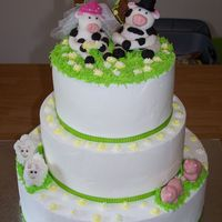 Barnyard Wedding I done this dummie cake for our county fair. The dummie cake has white b/c icing with the green and yellow ribbon. The barnyard animals and...